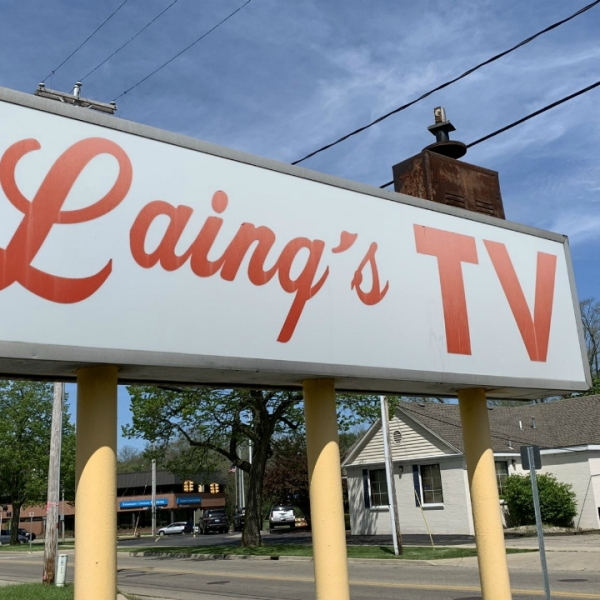 A photo of Laing's TV on Balch Street in Kalamazoo on May 20, 2020.