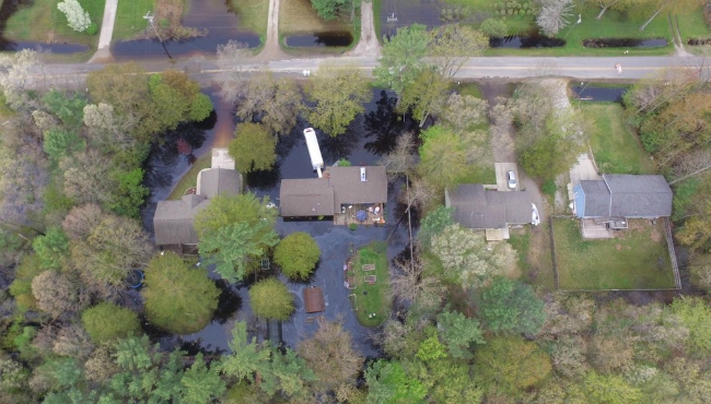 A courtesy photo of flooding at Mike Siroky home in North Muskegon on May 23, 2020.