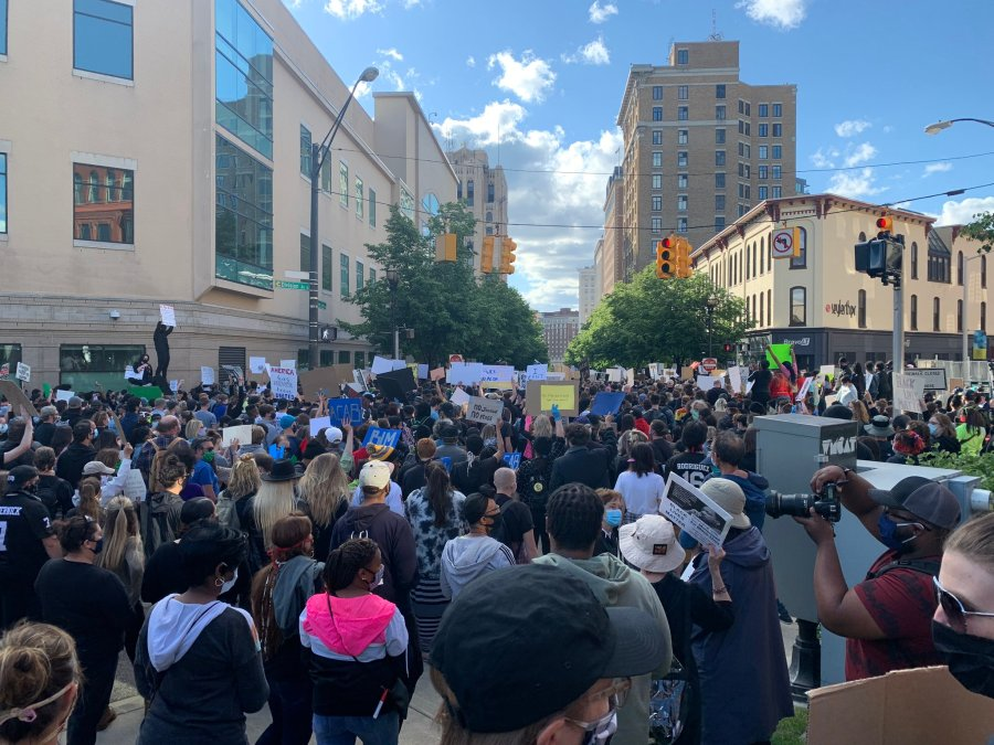 A protest against police brutality in Grand Rapids on May 30, 2020.