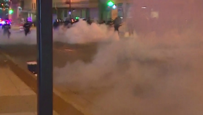 Tear gas that was deployed around 11:10 p.m. Saturday during a protest in Grand Rapids on May 30, 2020.