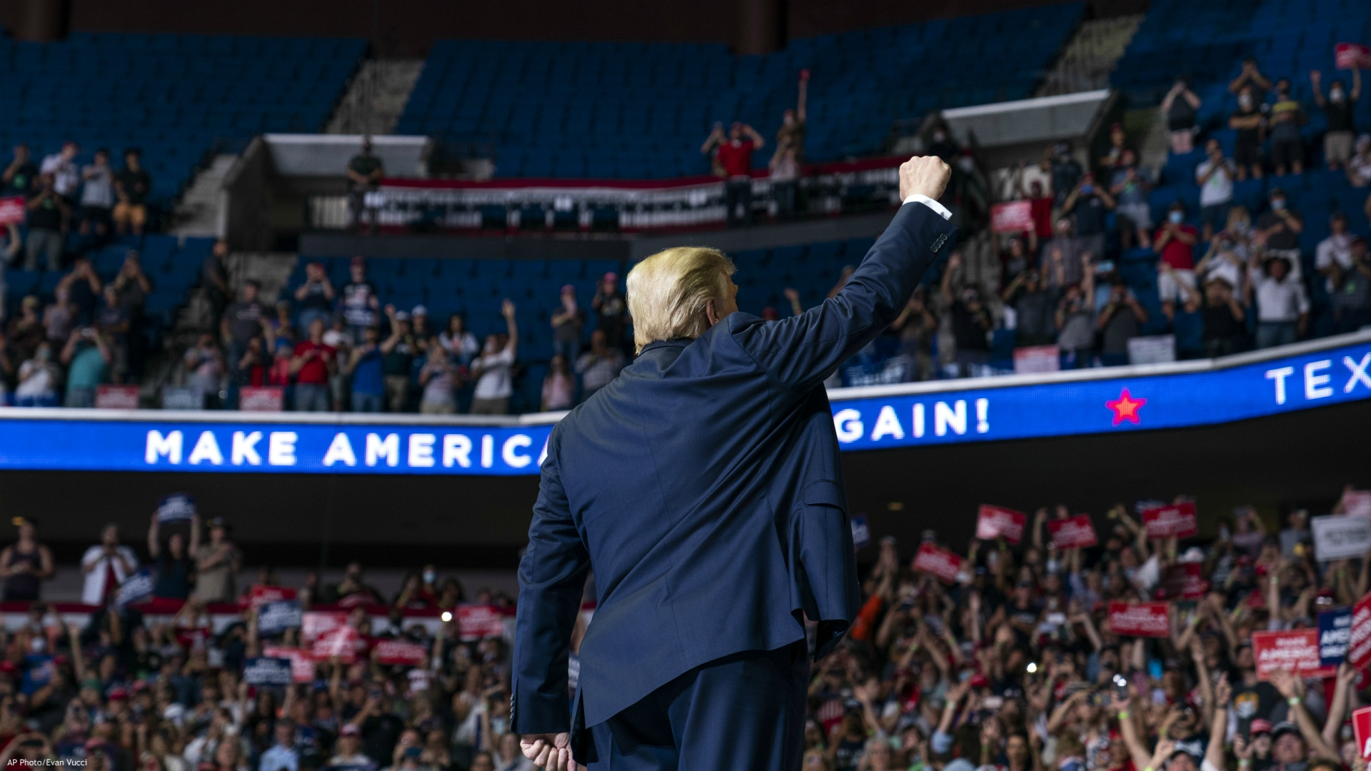 President Donald Trump arrives on stage to speak at a campaign rally at the BOK Center, Saturday, June 20, 2020, in Tulsa, Okla. (AP Photo/Evan Vucci)