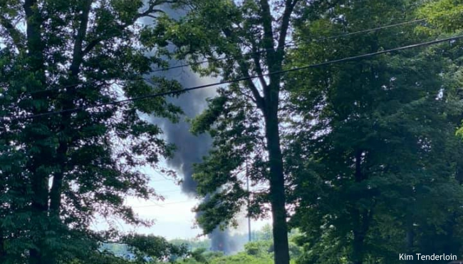 A photo of a fire at a building in Holland Township owned by the DeLeeuw Lumber Co. on June 27, 2020. (Courtesy of Kim Tenderloin)