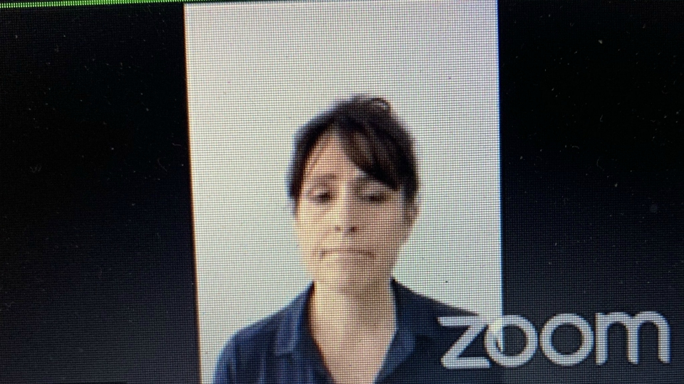 Michelle Koets on Zoom while being sentenced to drug charge on June 11, 2020.