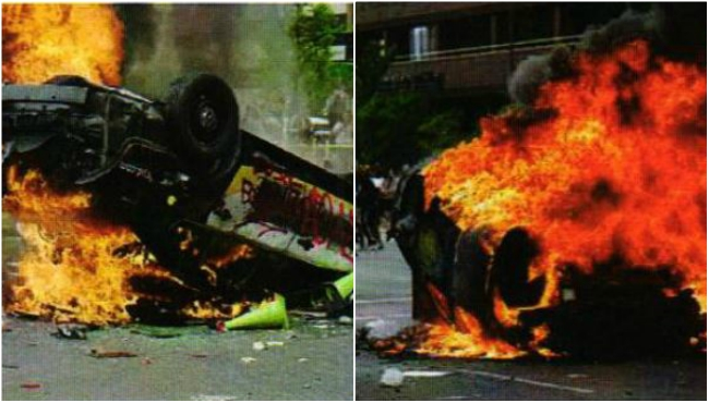 Photos of burning cars in Salt Lake City, Utah found in the criminal complaint on May 30, 2020.