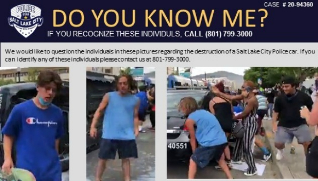 The video screen grab posted by Salt Lake City Police, asking the public to help identify Connor Peebles and at least two other men caught on video damaging a police cruiser.