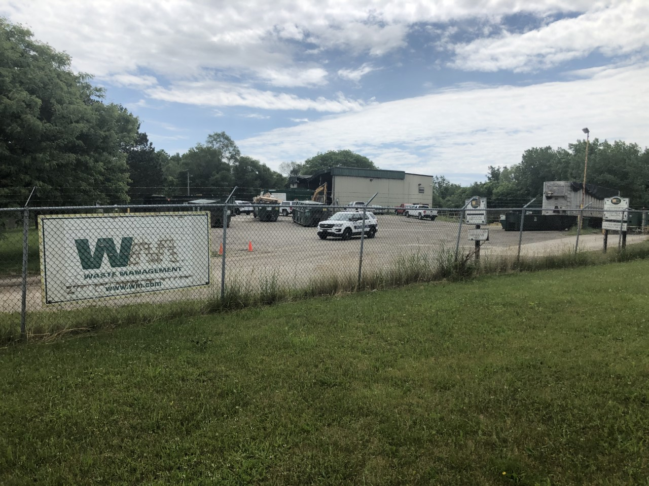 The site where a body was found in a garbage truck in Williamston,. (June 12 2020)