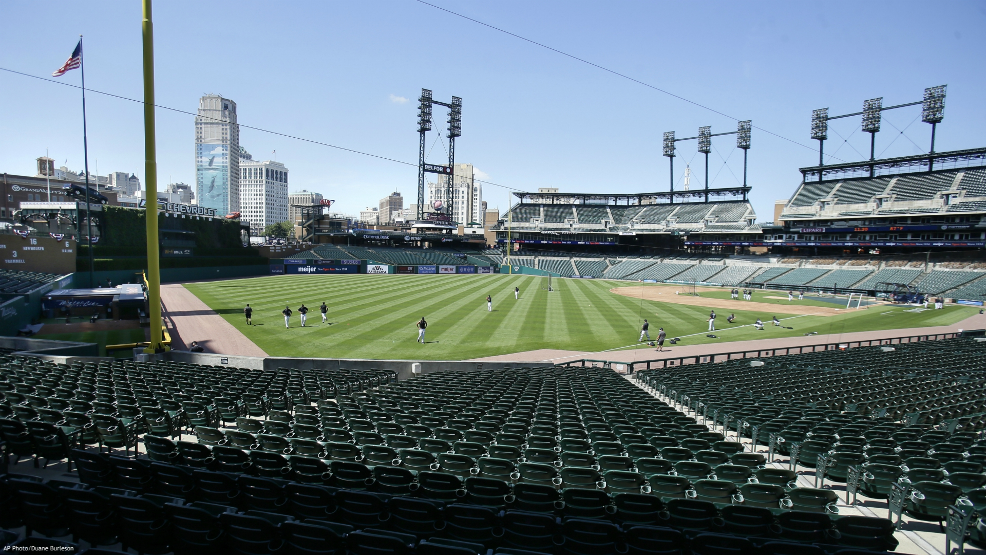 Detroit Tigers players work out during baseball training camp at Comerica Park, Friday, July 3, 2020, in Detroit. (AP Photo/Duane Burleson)