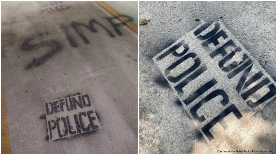 Left, vandalism found at the Government Center Ramp at City Hall on July 9, 2020. Right, graffiti found near a city official home on July 11, 2020. (Courtesy of the Grand Rapids Police Department)