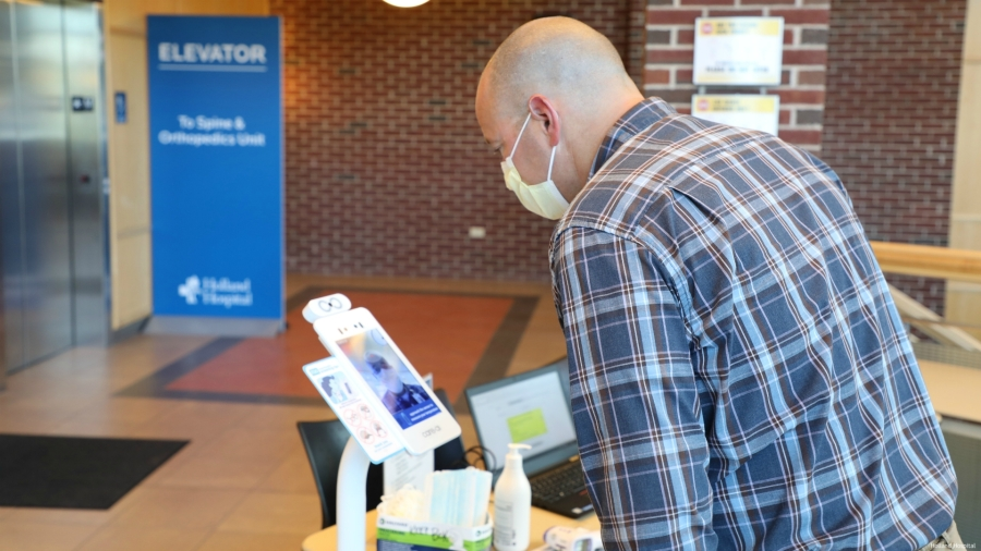 Courtesy photo of Care.ai's self-serve devices at Holland Hospital.