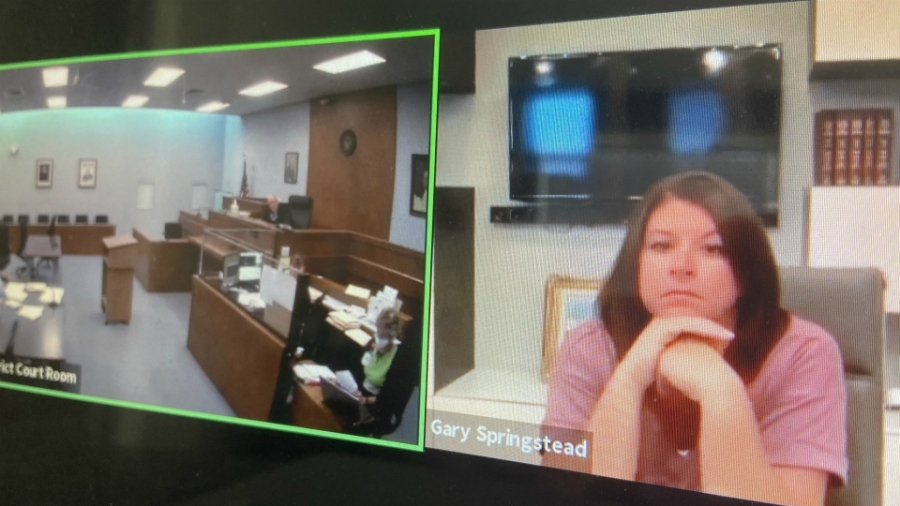A photo of a court hearing for Jennifer Kraus on July 30, 2020.