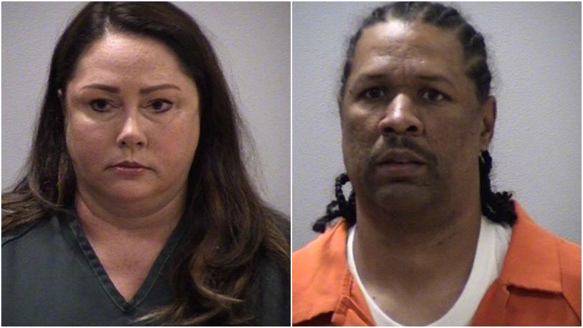 The booking photos of Heather McLogan and Michael Mosley.