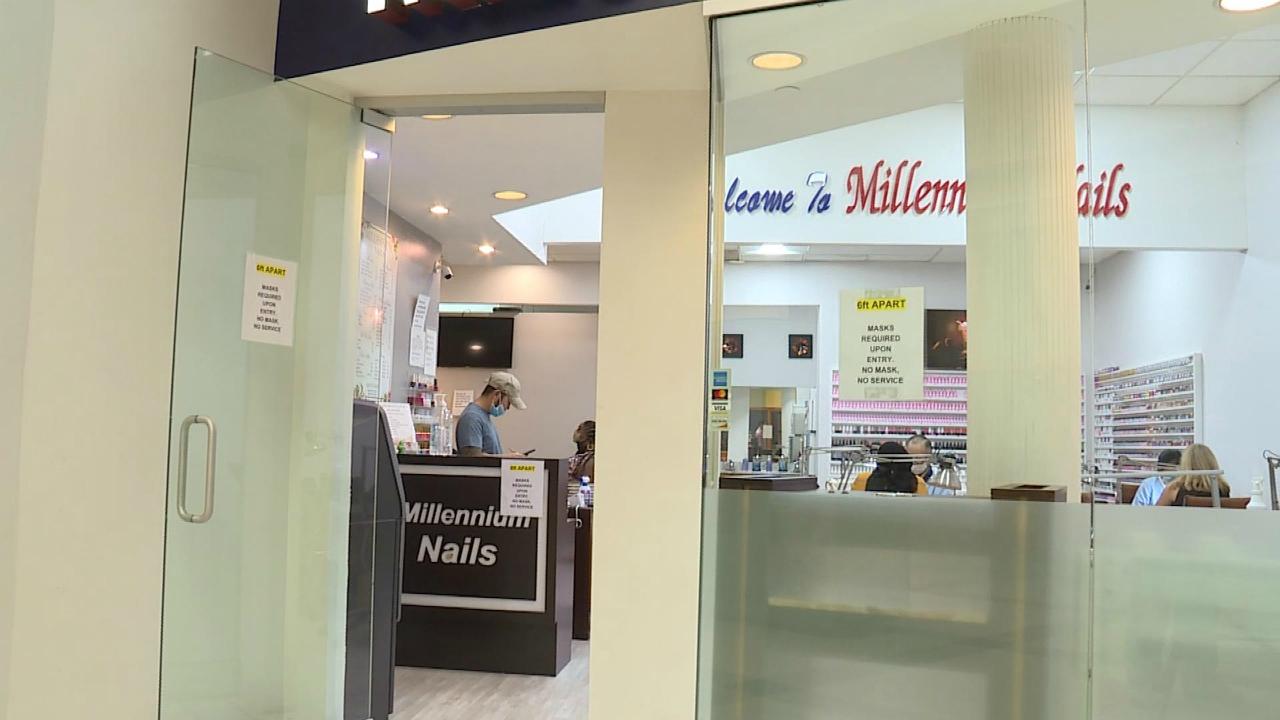Millennium Nails inside Woodland Mall on July 25, 2020.