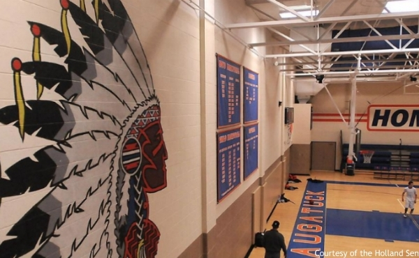 A mural of an American Indiana at Saugatuck High School. (Courtesy of the Holland Sentinel)