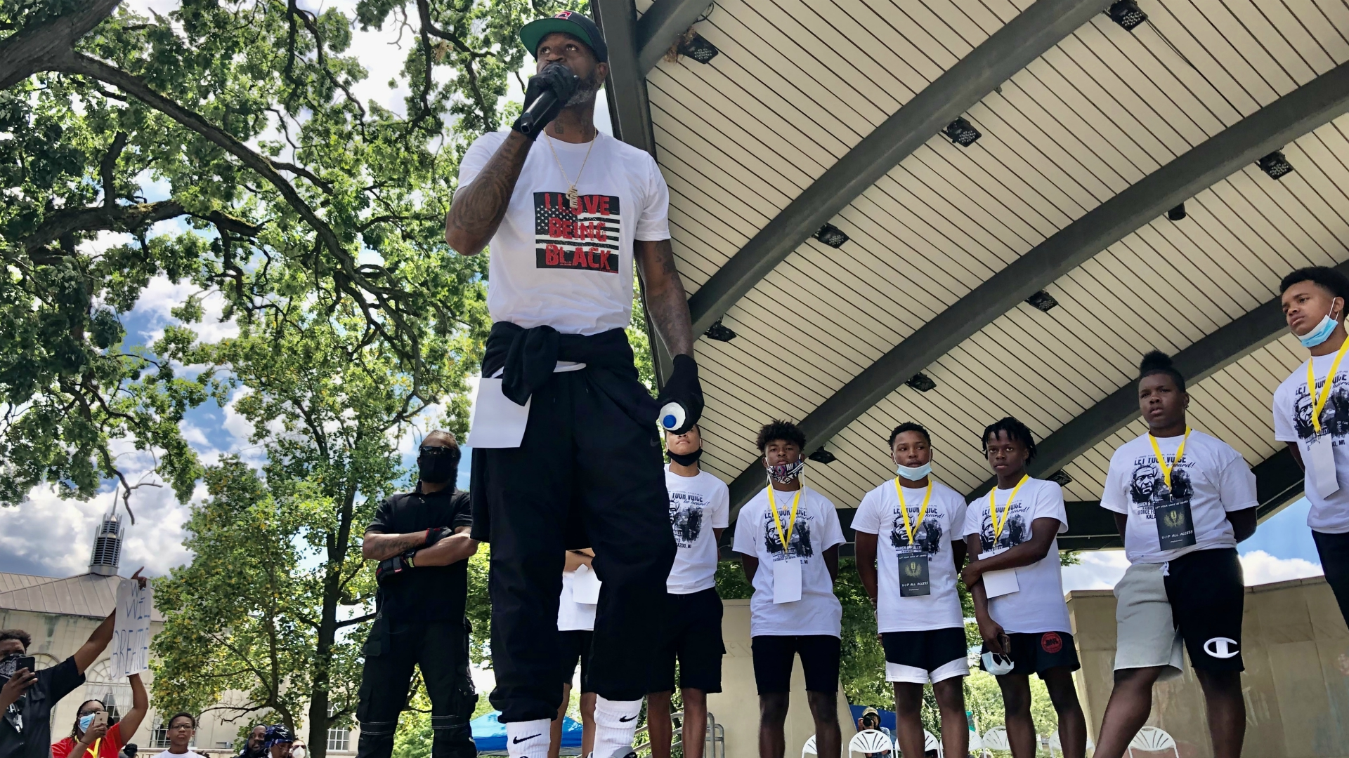 Former NBA star Stephen Jackson at a rally in Kalamazoo in honor of George Floyd on July 11, 2020.