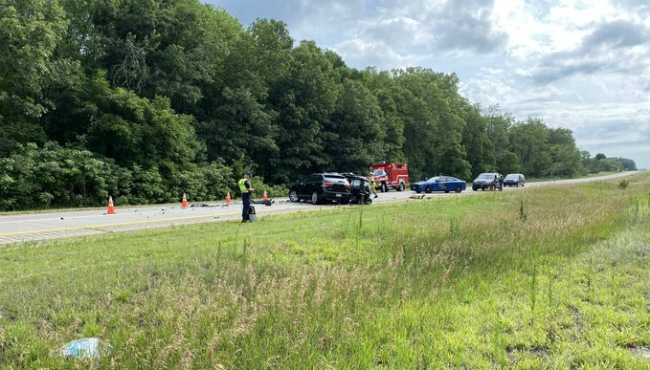 A fatal crash on westbound I-96 near Lowell on July 15, 2020.