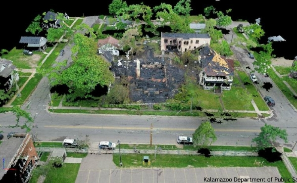 Drone photos of a fire that destroyed several Kalamazoo homes in June. (Courtesy of the Kalamazoo Department of Public Safety)