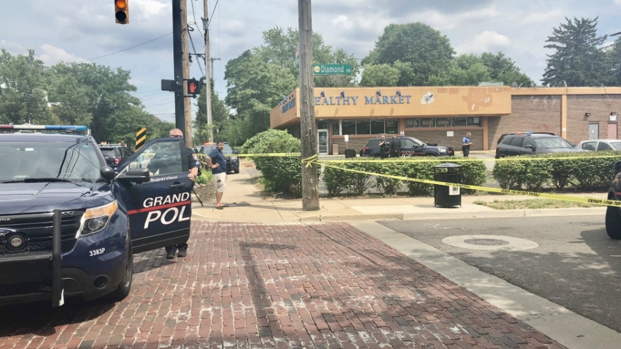 A shooting on Wealthy Street and Diamond Avenue in Grand Rapids on July 15, 2020.