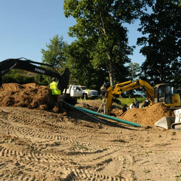 A photo of a trench collapse that killed a construction worker in Casco Township on Aug. 19, 2020. (Courtesy of the South Haven Area Emergency Services)