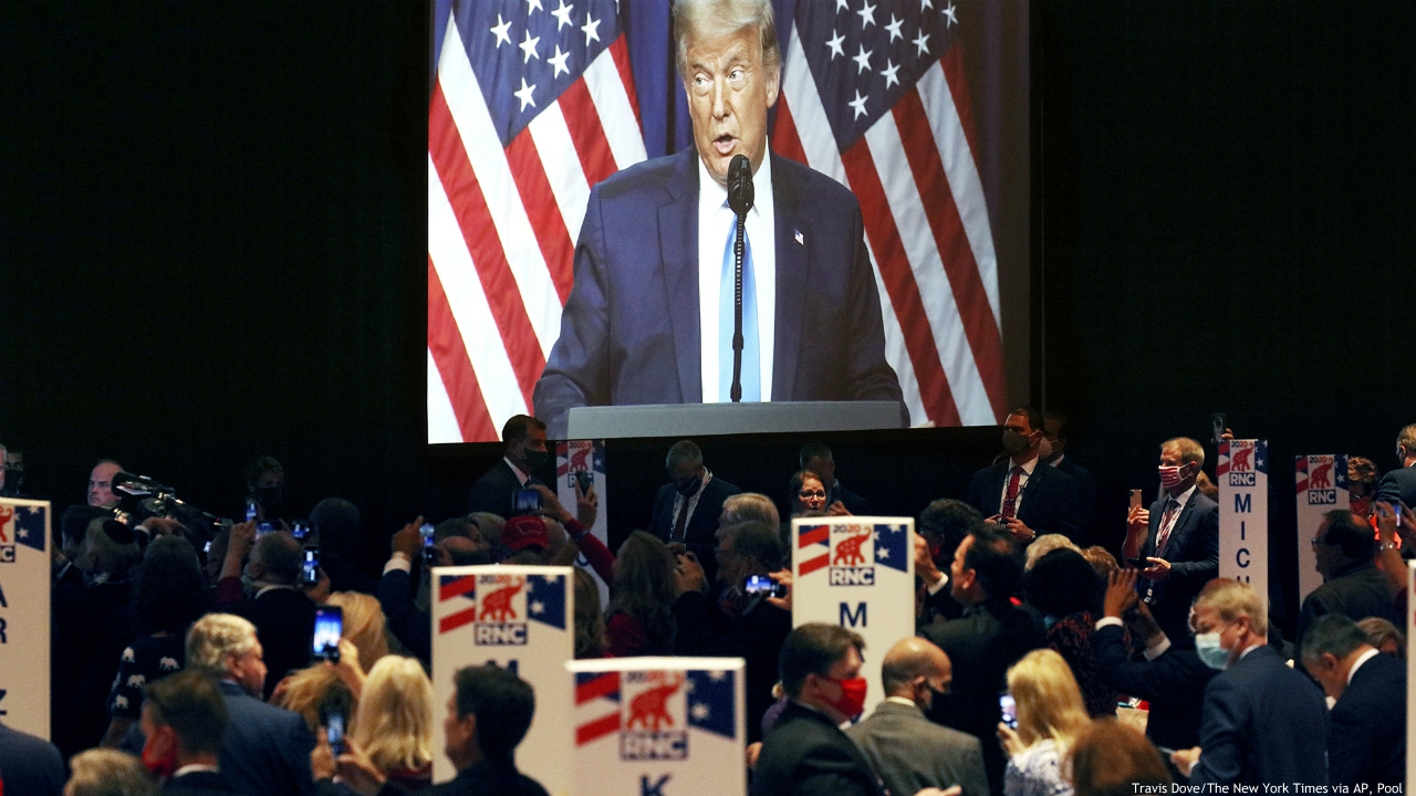 President Donald Trump speaks during the first day of the Republican National Convention Monday, Aug. 24, 2020, in Charlotte, N.C. (Travis Dove/The New York Times via AP, Pool)