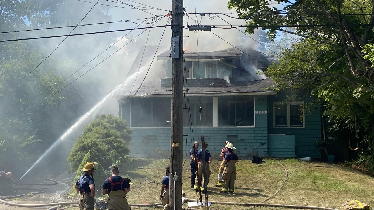 Crews battle house fire on Prospect Street in Kalamazoo on Aug. 21, 2020.