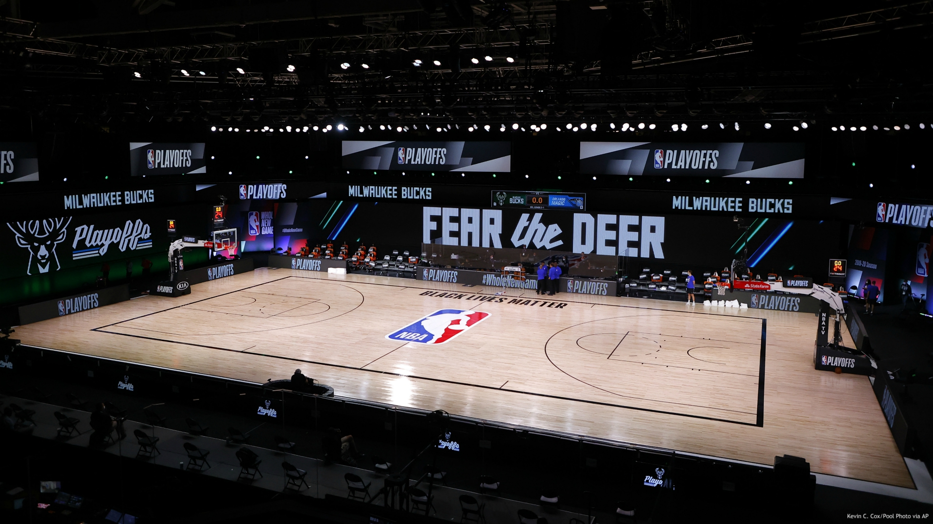 eferees huddle on an empty court at game time of a scheduled game between the Milwaukee Bucks and the Orlando Magic for Game 5 of an NBA basketball first-round playoff series, Wednesday, Aug. 26, 2020, in Lake Buena Vista, Fla. (Kevin C. Cox/Pool Photo via AP)