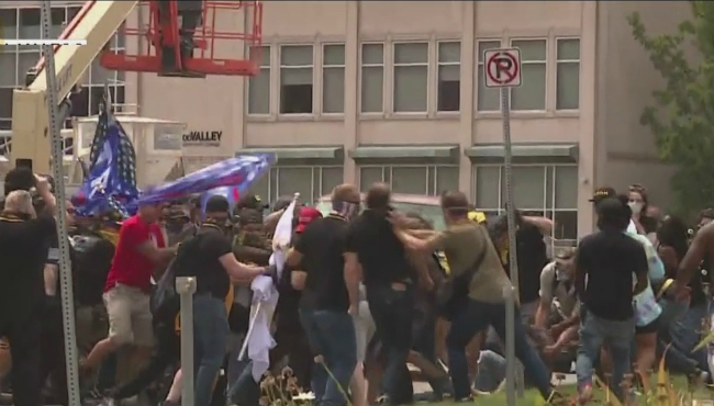 A far-right group and counter-protesters clashed in Kalamazoo on Aug. 15, 2020.