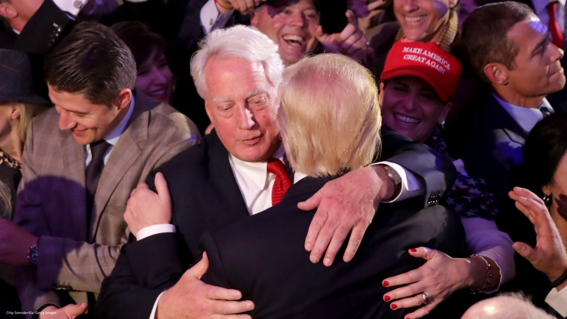 NOVEMBER 09: Republican president-elect Donald Trump (R) hugs his brother Robert Trump after delivering his acceptance speech at the New York Hilton Midtown in the early morning hours of November 9, 2016 in New York City. Donald Trump defeated Democratic presidential nominee Hillary Clinton to become the 45th president of the United States. (Photo by Chip Somodevilla/Getty Images)