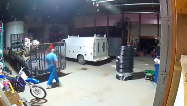 An image from a surveillance video at a break-in at S & D Landscape & Irrigation in Coldwater.