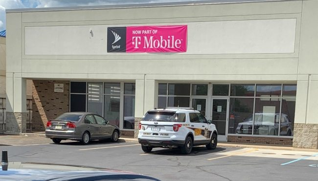 The scene after a T-Mobile store on Baldwin Street and Cottonwood Drive in Georgetown Township was robbed on Aug. 5, 2020.