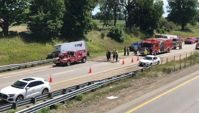 A crash on northbound US 131 near Dorr Township on Aug. 11, 2020.