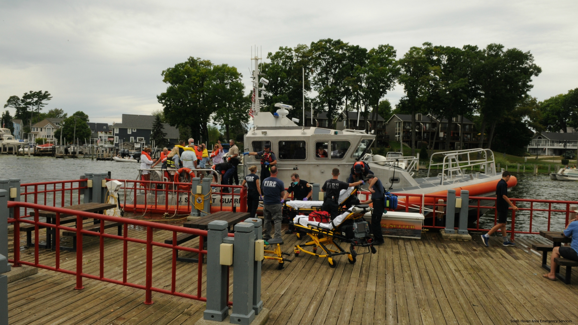 Crews assist boaters overcome by carbon monoxide in South Haven. (Courtesy of South Haven Area Emergency Services)
