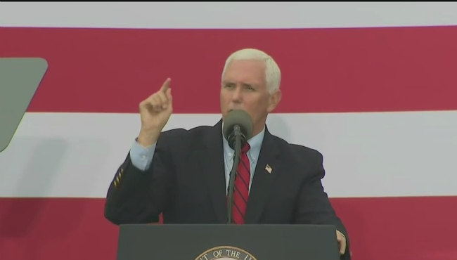 Vice President Mike Pence speaking at a rally in Traverse City on Aug. 28, 2020.