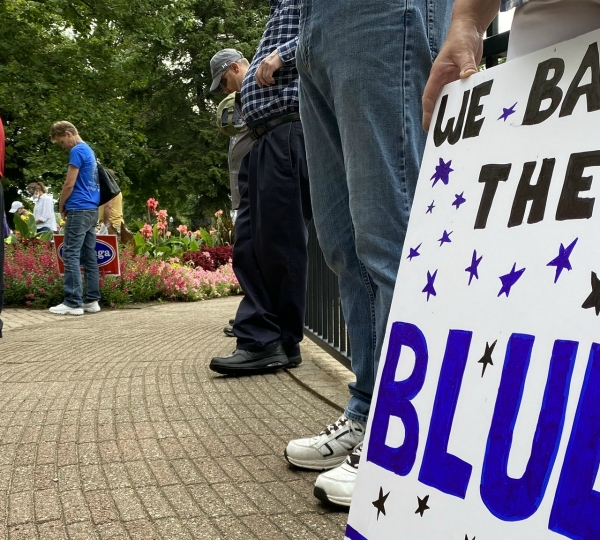 A rally to support law enforcement in Holland on Aug. 1, 2020.