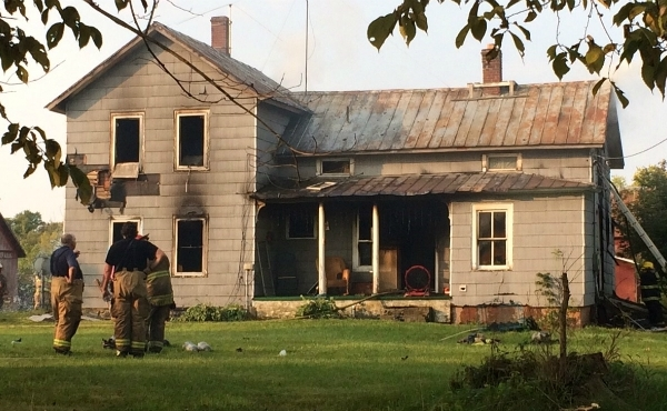 Crews respond to a house fire in Dowling on Sept. 22, 2020.