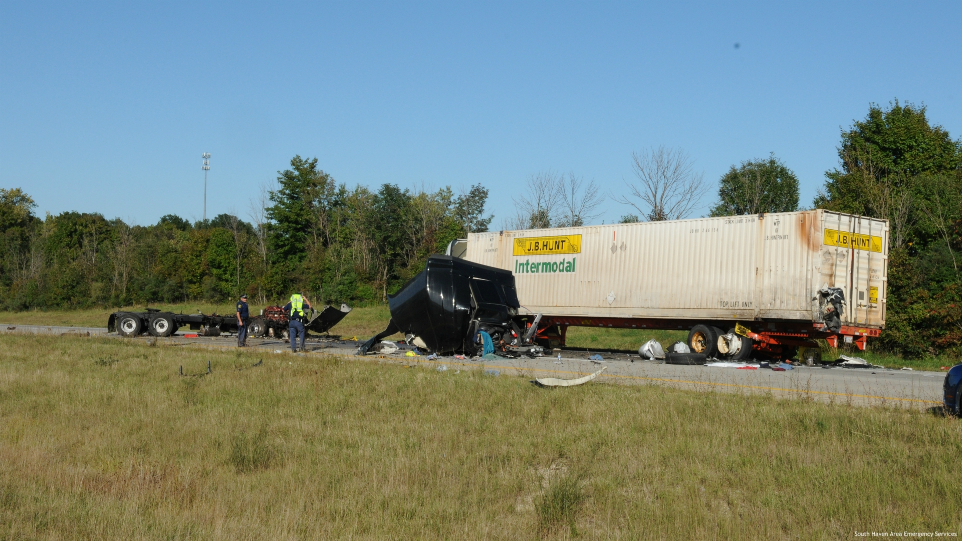 Authorities say two people are in the hospital after two semis crashed in Casco Township on Sept. 18, 2020. (Courtesy of the South Haven Area Emergency Services)