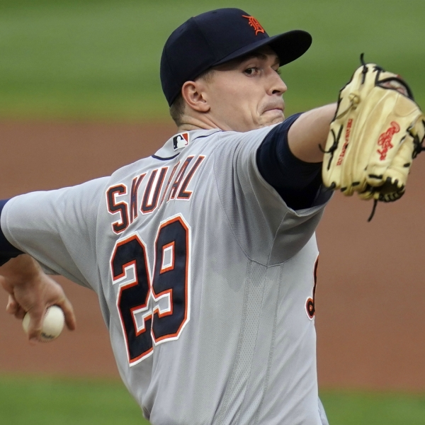 Detroit Tigers pitcher Tarik Skubal throws to a Minnesota Twins batter during the first inning of a baseball game Saturday, Sept. 5, 2020, in Minneapolis. (AP Photo/Jim Mone)