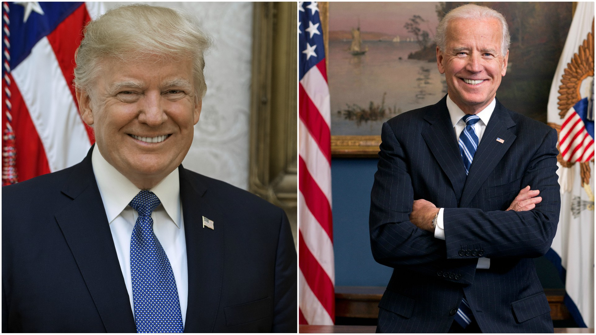 The official portraits of Donald Trump and Joe Biden. (Courtesy of the White House)