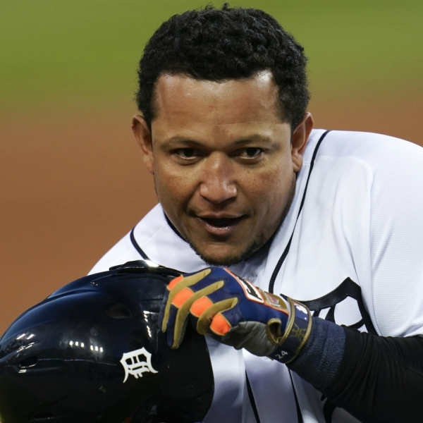 Detroit Tigers' Miguel Cabrera gestures with his helmet against the Cleveland Indians in the first inning of a baseball game in Detroit, Friday, Sept. 18, 2020. (AP Photo/Paul Sancya)