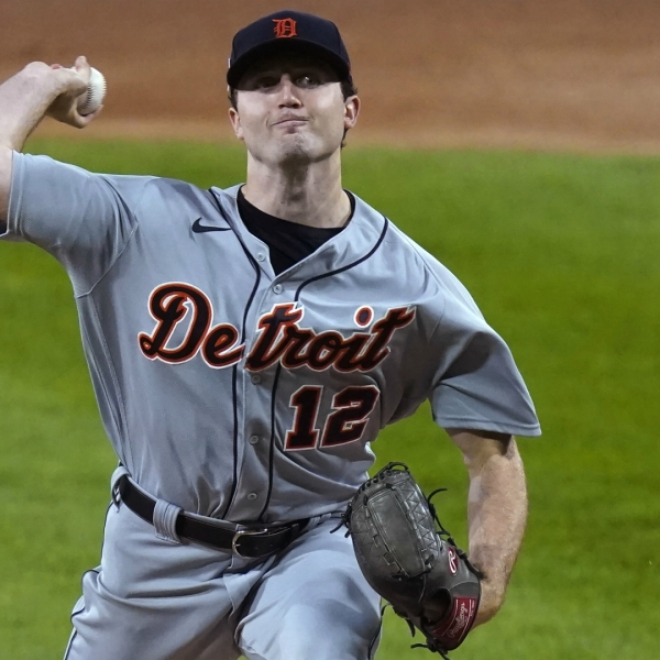 Detroit Tigers starting pitcher Casey Mize delivers during the first inning of the team's baseball game against the Chicago White Sox on Friday, Sept. 11, 2020, in Chicago. (AP Photo/Charles Rex Arbogast)