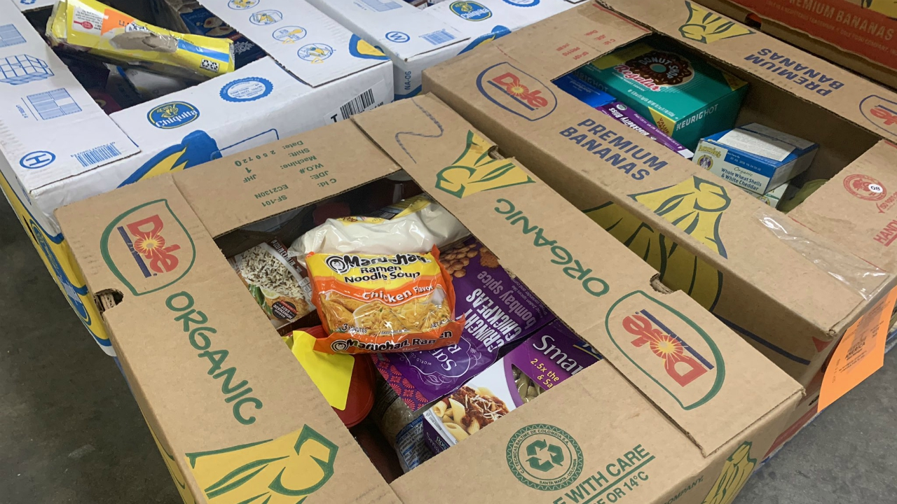 Food for a giveaway organized by the NAACP of Greater Grand Rapids and Feeding America West Michigan. (Sept. 10, 2020)