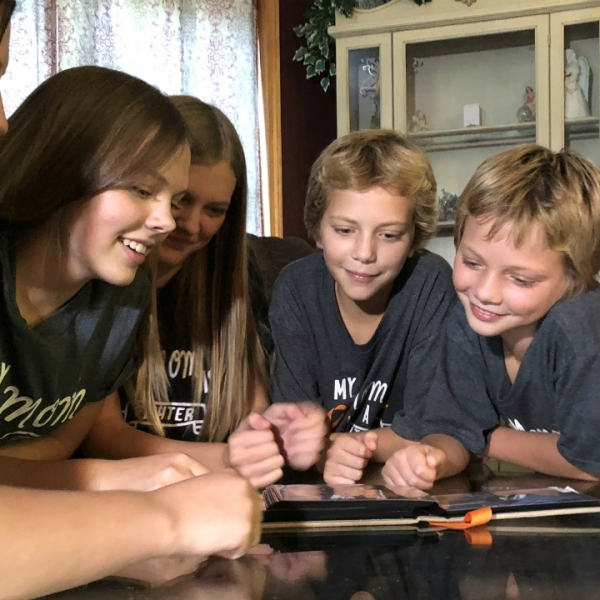 A photo of the Walch family in Belding. Their mom, Angie, is battling cancer and only been a limited amount of visitors in the hospital. (Sept. 4, 2020)