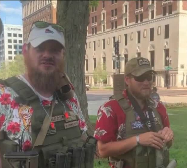 Adam Fox and Joseph Morrison at an American Patriot rally in Lansing on June 18, 2020.