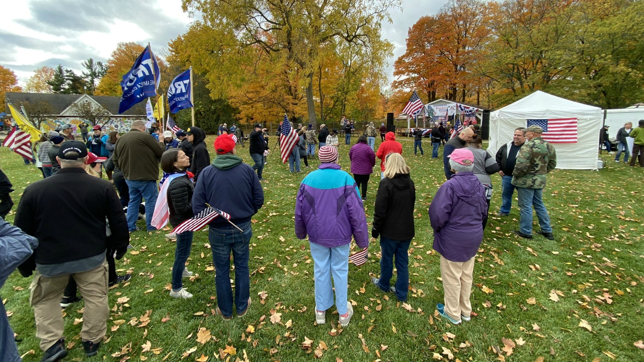 Two groups held separate rallies for and against planning commission member Ryan Kelley at Allendale Community Park on Oct. 24, 2020.