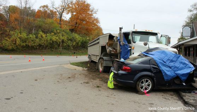 A fatal crash in Ionia County's Boston Township on Oct. 14, 2020. (Courtesy of the Ionia County Sheriff's Office)