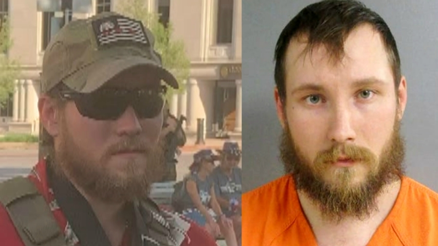 Left: Joseph Morrison at an American Patriot rally in Lansing on June 18, 2020. Right: Morrison's booking photo after being charged in a plot to kidnap Gov. Gretchen Whitmer.