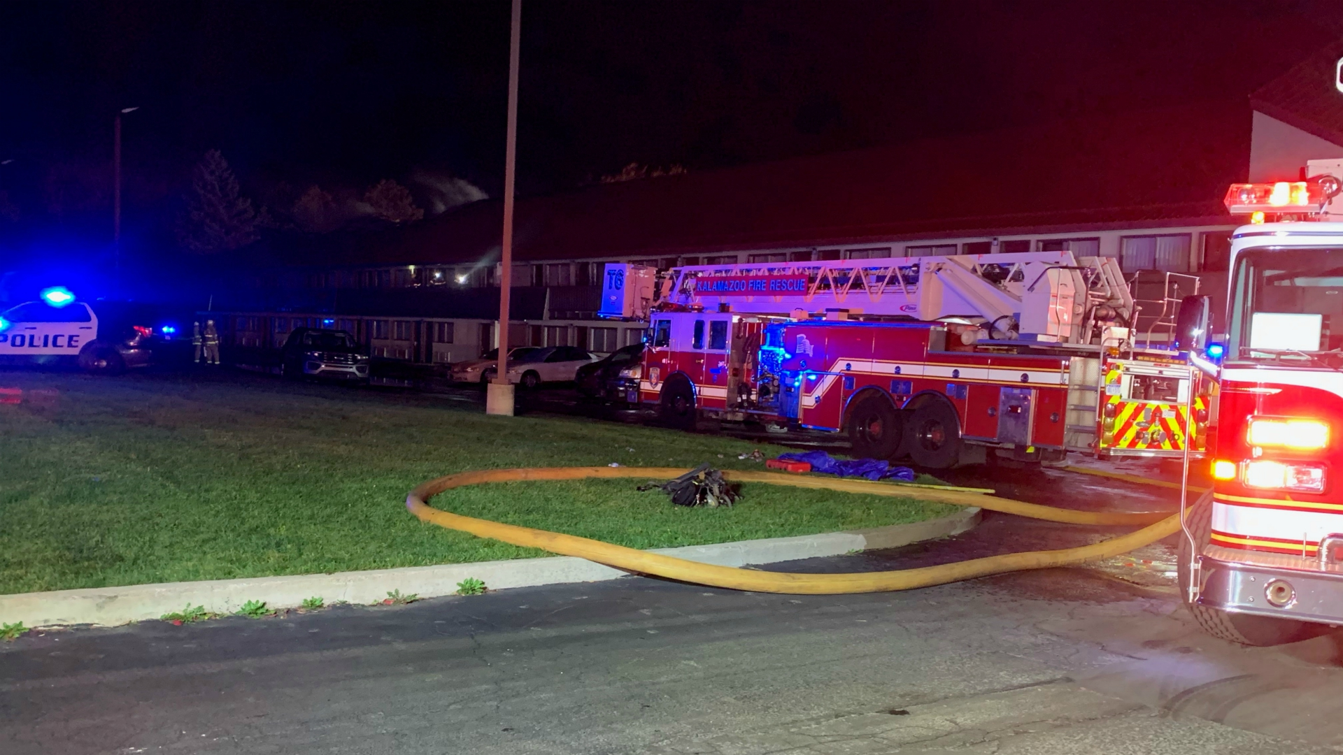 Crews battle fire at Red Rood Inn in Kalamazoo on Oct. 23, 2020.