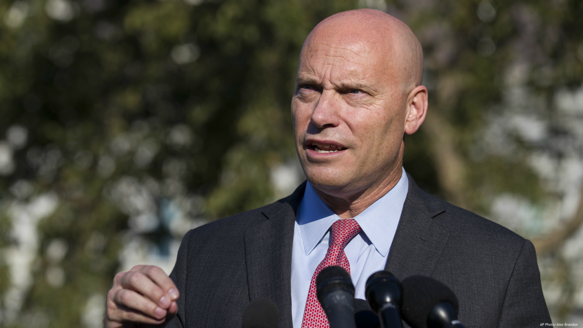 In this Monday, Sept. 16, 2019 file photo, Marc Short, chief of staff for Vice President Mike Pence, speaks with reporters at the White House in Washington. Vice President Mike Pence will maintain an aggressive campaign schedule this week the White House said Saturday, Oct. 24, 2020 despite his exposure to Marc Short, his chief of staff who tested positive for the coronavirus. (AP Photo/Alex Brandon)