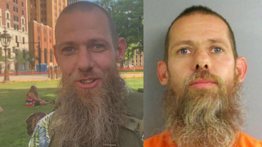 Left: Pete Musico at an American Patriot rally in Lansing on June 18, 2020. Right: Musico's booking photo after being charged in a plot to kidnap Gov. Gretchen Whitmer.