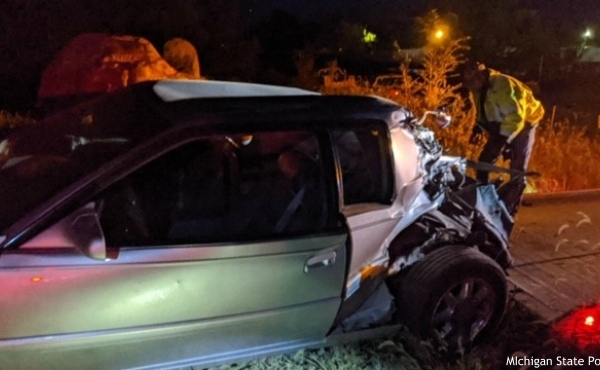 A photo of a crash after it was involved in a crash with a train in Berrien County on Oct. 7, 2020. (Courtesy of the Michigan State Police Niles Post)