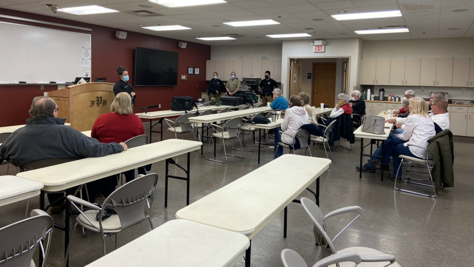 The Coffee with a Deputy group at the Plainfield Fire's training center off Plainfield Avenue. (Oct. 28, 2020)